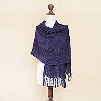Alpaca blend shawl, 'Violet Empress' - Fair Trade Alpaca Wool Solid Shawl