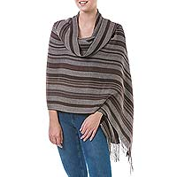 Alpaca and silk shawl, 'Coffee Plantation' - Handmade Alpaca Wool Silk Blend Striped Shawl