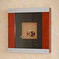 Wood and aluminum wall clock, 'Inca Bird' - Wood and aluminum wall clock