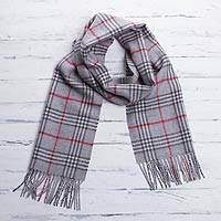 Men's 100% alpaca scarf, 'Misty Grey' - Men's Baby Alpaca Scarf from Peru