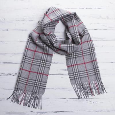 Men's 100% alpaca scarf, 'Misty Grey' - Men's Baby Alpaca Scarf from Peru