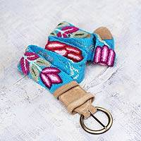 Leather accent wool belt, 'Andean Turquoise' - Handcrafted Floral Wool and Leather Embroidered Belt