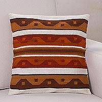 Wool cushion cover, 'Golden Surf' - Wool cushion cover