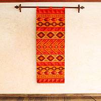 Wool tapestry, 'Inca Fire' - Wool tapestry