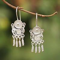 Sterling silver filigree earrings, 'Little Beauty' - Sterling Silver Filigree Chandelier Earrings
