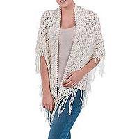 100% alpaca shawl, 'Arequipa Dream' - Unique Alpaca Wool Crocheted Ivory Shawl