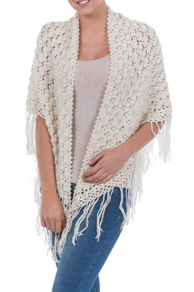 100% alpaca shawl, 'Arequipa Dream' - Unique Alpaca Wool Crocheted Ivory Shawl