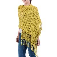 100% alpaca shawl, 'Timeless' - Floral Alpaca Wool Crochet Shawl from Peru