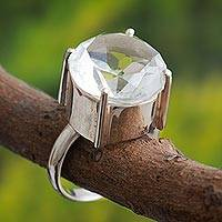 Quartz solitaire ring, 'Quechua Mystique' - Quartz solitaire ring