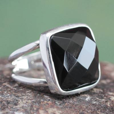 Obsidian cocktail ring, 'Lima Treasure' - Peruvian Sterling Silver Single Stone Obsidian Ring