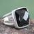 Obsidian cocktail ring, 'Lima Treasure' - Peruvian Sterling Silver Single Stone Obsidian Ring thumbail