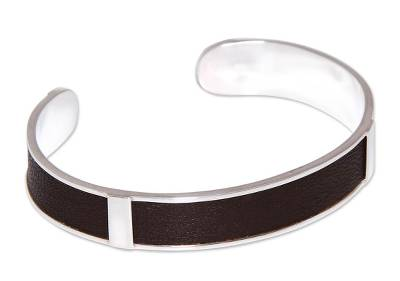 Artisan Crafted Modern Sterling Silver Leather Cuff Bracelet