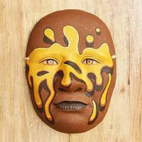 Ceramic mask, 'Splash of Sunshine' - Ceramic mask