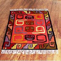 Wool rug, 'Ceremonial Masks' (4x5) - Handcrafted Geometric Wool Area Rug (4x5)