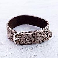 Sterling silver accent leather wristband bracelet,