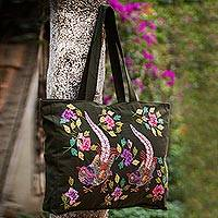 Cotton applique tote bag Exotic Birds Peru