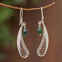 Chrysocolla dangle earrings, 'Filigree Enchantment' - Women's Modern Sterling Silver Dangle Chrysocolla Earrings