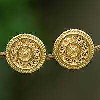 Gold plated filigree button earrings, 'Golden Illusion' - Fair Trade Gold Plated Filigree Earrings