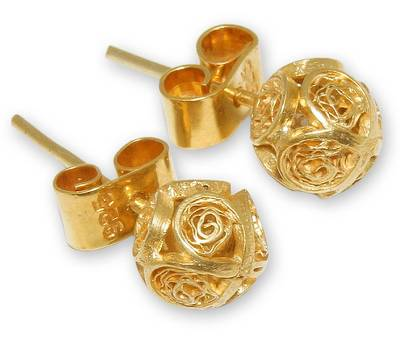 Handcrafted Gold Plated Filigree Stud Earrings
