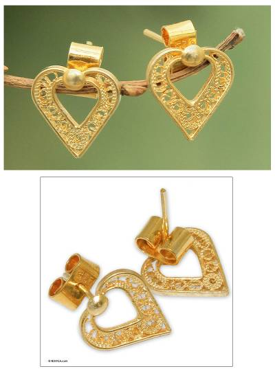 Gold plated filigree heart earrings, 'A Place in My Heart' - Gold plated filigree heart earrings