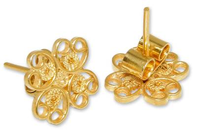 Handmade Floral Gold Plated Filigree Flower Earrings