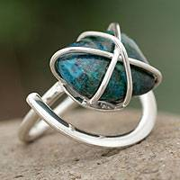 Chrysocolla single stone ring, 'Hold Me' - Chrysocolla single stone ring