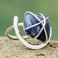 Sodalite single stone ring, 'Hold Me' - Sodalite Cocktail Ring 925 Sterling Silver Handmade Jewelry