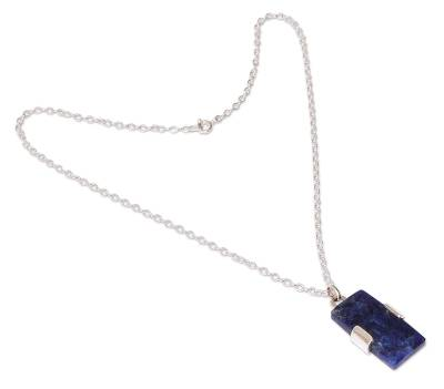 Artisan Crafted Sterling and Sodalite Pendant Necklace