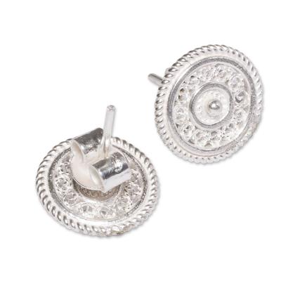 Elegant Silver Filigree Earrings Button Style