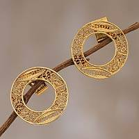 Gold plated filigree earrings, 'Solar Auras' - Gold plated filigree earrings