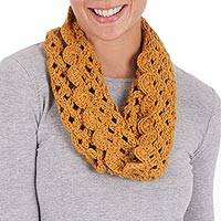 100% alpaca neck warmer, 'Golden Lace' - Collectible Alpaca Wool Crochet Neck Warmer Scarf