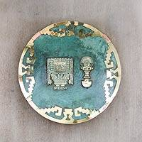 Copper and bronze plate, 'Peruvian Heritage' - Copper and bronze plate