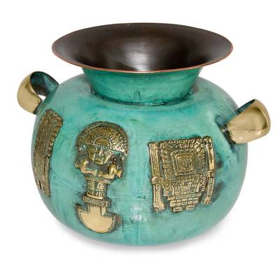 Copper and bronze vase, 'Inca Icons' - Archaeological Copper Bronze Decorative Vase