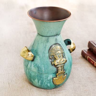 Copper and bronze vase, 'Inca Blade and Wiracocha' - Unique Inca Bronze Copper Decorative Vase