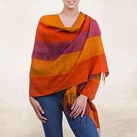 100% alpaca shawl, 'Tarma Marigold' - Handwoven Peruvian Alpaca Wool Striped Shawl