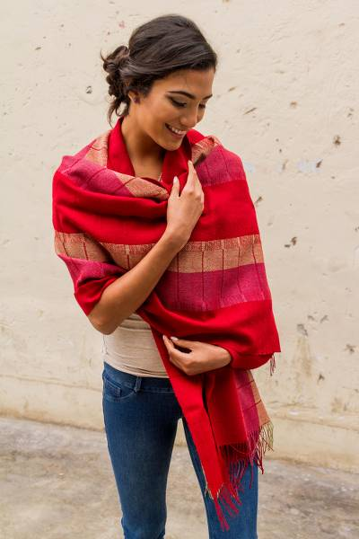 100% alpaca shawl, 'Red Rose of Tarma' - Woven 100% Alpaca Shawl in Red and Fuchsia