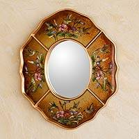 Reverse painted glass mirror,