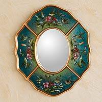Reverse painted glass mirror, 'Turquoise Hummingbirds' - Unique Peruvian Wood Glass Bird Mirror