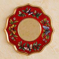 Reverse painted glass mirror, 'Ruby Butterfly Sky' - Red Reverse Painted Glass Round Wall Mirror