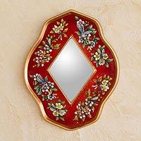 Reverse painted glass mirror, 'Red Summer Garden' - Handcrafted Reverse Painted Glass Mirror