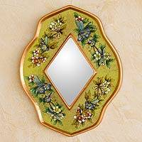 Reverse painted glass mirror, 'Yellow Summer Garden' - Reverse painted glass mirror