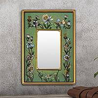 Reverse painted glass mirror, 'Emerald Fields' - Collectible Glass Vibrant Green Mirror