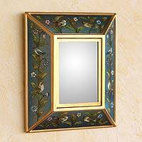 Reverse painted glass mirror, 'Song to Life' - Reverse painted glass mirror