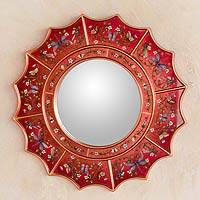 Reverse painted glass mirror, 'Red Summer Radiance' - Handcrafted Peruvian Gilted Revese Painted Glass Mirror