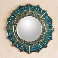 Reverse painted glass mirror Blue Summer Radiance Peru