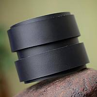 Men's leather wristband bracelet, 'Modern Black Duo' - Men's Modern Leather Wristband Bracelet