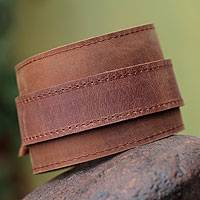 Men's leather wristband bracelet, 'Sporty Brown' - Men's Handcrafted Leather Wristband Bracelet