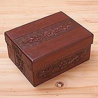 Leather and mohena wood jewelry box, 'Autumn Flower' - Fair Trade Leather Jewelry Box