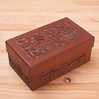 Leather and mohena wood jewelry box, 'Morning Song' - Leather and mohena wood jewelry box