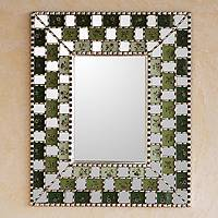 Reverse painted glass mirror, 'Flourishing Green Infinite' - Reverse painted glass mirror